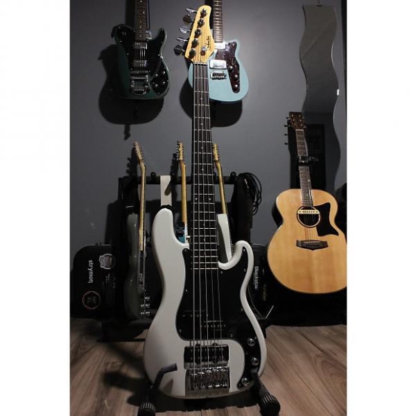 Custom Schecter  Diamond-P Custom 5 String Bass Guitar - Vintage White - USED #1 image