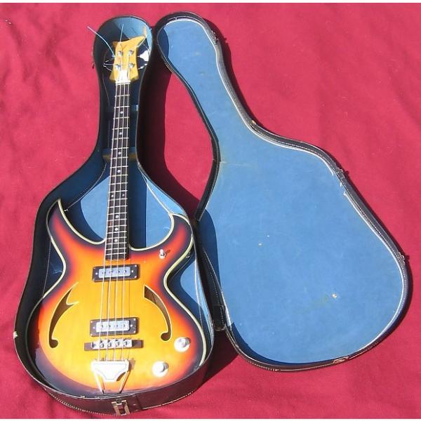 Custom Teisco FIREBIRD BASS guitar rare original hollowbody with original case! Tobacco Burst #1 image