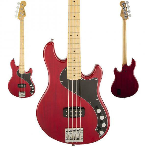 Custom Squier Deluxe Dimension 4 String Bass Guitar IV Maple Fingerboard And Crimson Red Transparent Finish #1 image