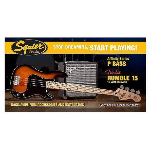 Custom Fender Squier Affinity Precision Bass Pack w/ Rumble 15 Amp - Brown Sunburst #1 image