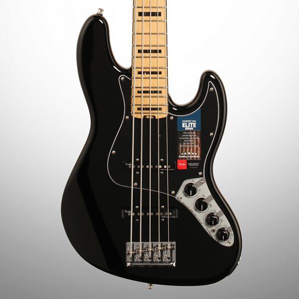 Custom Fender American Elite V Jazz Bass, 5-String, Maple Fingerboard(with Case), Black #1 image