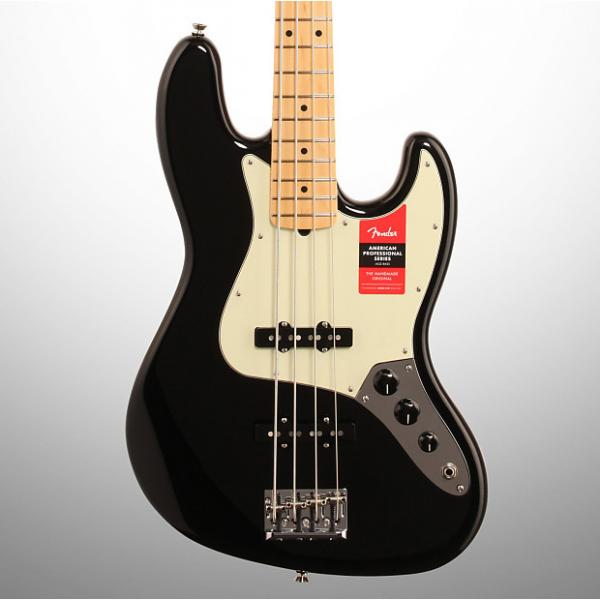 Custom Fender American Pro Jazz Electric Bass, Maple Fingerboard (with Case), Black #1 image