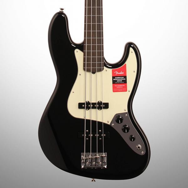 Custom Fender American Pro Jazz Electric Bass, Fretless, Black (with Case) #1 image