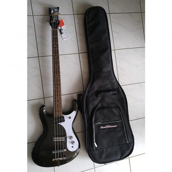 Custom Danelectro 64 bass Mosrite Style 2016 metallic black w/ gig bag #1 image