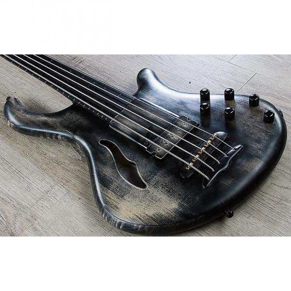 Custom Mayones Patriot 5 Maurizio Rolli Fretless 5-String Bass Antique Black Oil Finish with Hard Case #1 image