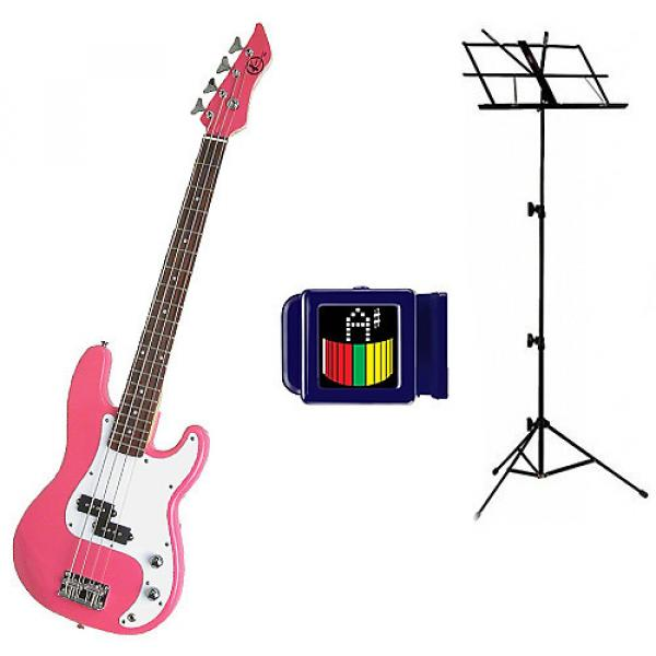 Custom Bass Pack-Pink Kay Electric Bass Guitar Medium Scale w/ SN1 Tuner & Black Stand #1 image