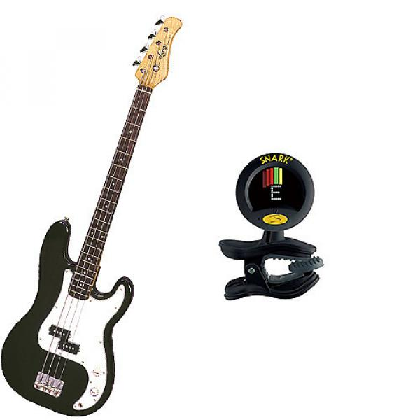 Custom Bass Pack-Black Kay Electric Bass Guitar Medium Scale w/Snark SN8 Tuner #1 image
