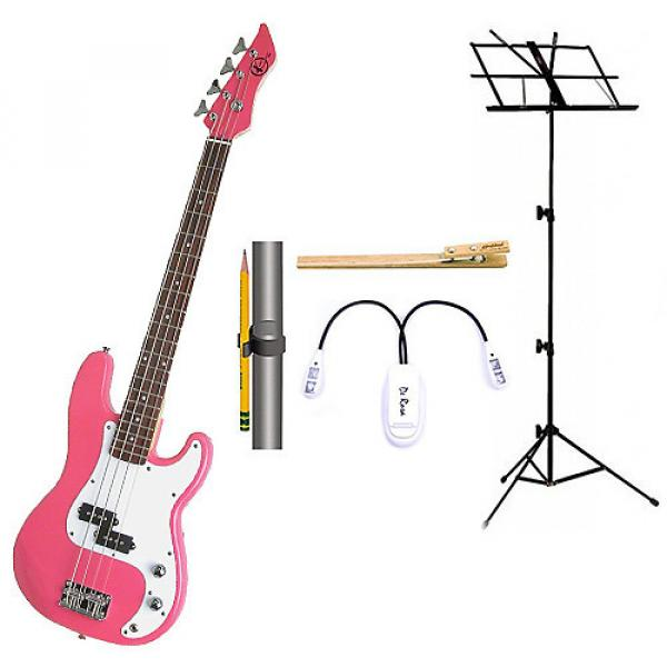 Custom Bass Pack-Pink Kay Bass Guitar Medium Scale w/Black Music Stand & Accessory PacK #1 image