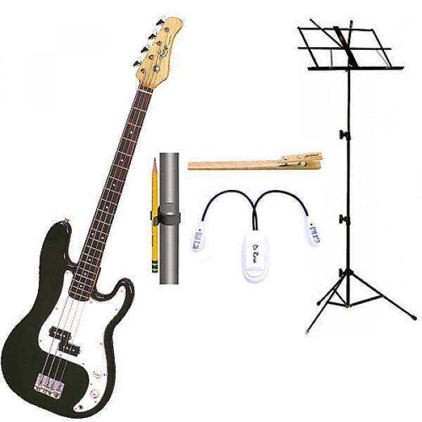 Custom Bass Pack-Black Kay Bass Guitar Medium Scale w/Black Music Stand & Accessory PK #1 image