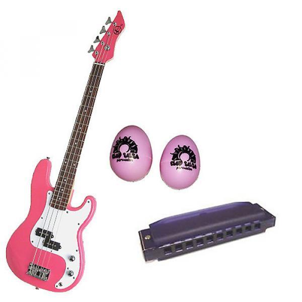 Custom Bass Pack-Pink Kay Electric Bass Guitar Medium Scale w/Pink Shakers & Harmonica #1 image