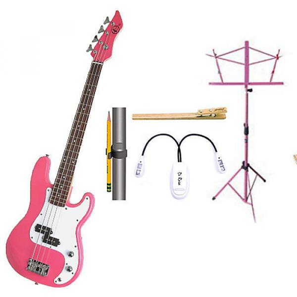 Custom Bass Pack-Pink Kay Bass Guitar Medium Scale w/Pink Music Stand & Accessory PacK #1 image
