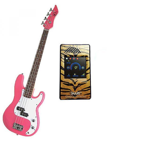 Custom Bass Pack-Pink Kay Electric Bass Guitar Medium Scale w/Metronome (Tiger) #1 image