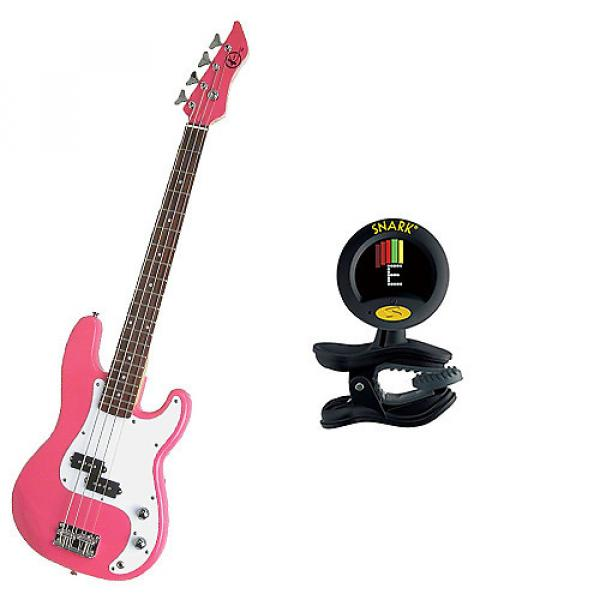 Custom Bass Pack-Pink Kay Electric Bass Guitar Medium Scale w/Snark SN8 Tuner #1 image
