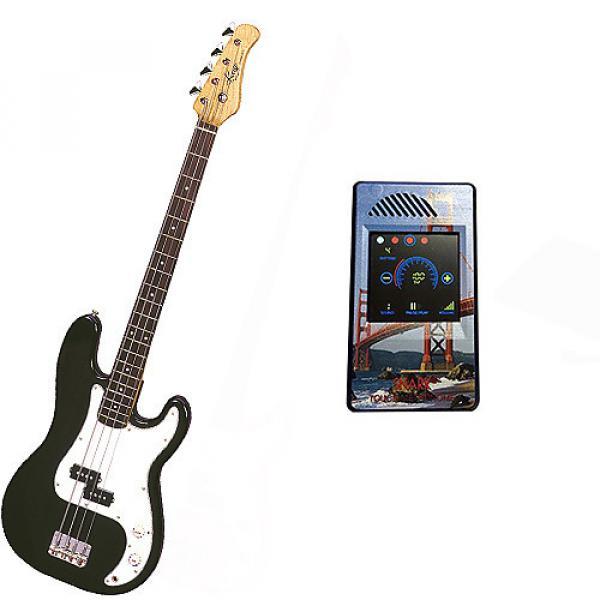 Custom Bass Pack-Black Kay Electric Bass Guitar Medium Scale w/Metronome (San Francisco) #1 image