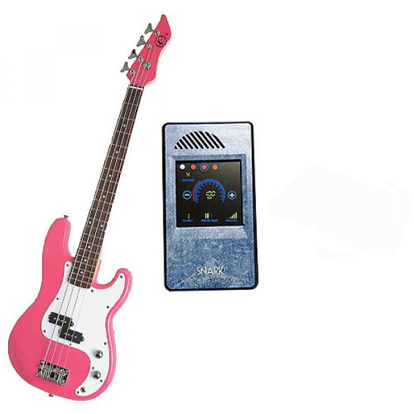 Custom Bass Pack-Pink Kay Electric Bass Guitar Medium Scale w/Metronome (Light Blue) #1 image