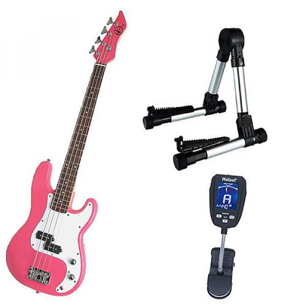 Custom Bass Pack-Pink Kay Bass Guitar Medium Scale w/Meisel COM-90 Tuner & Silver Stand #1 image
