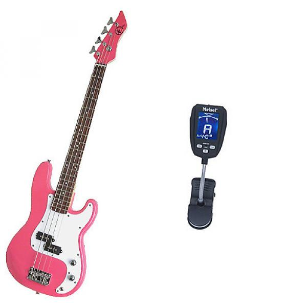 Custom Bass Pack-Pink Kay Electric Bass Guitar Medium Scale w/Meisel Com90 Tuner #1 image