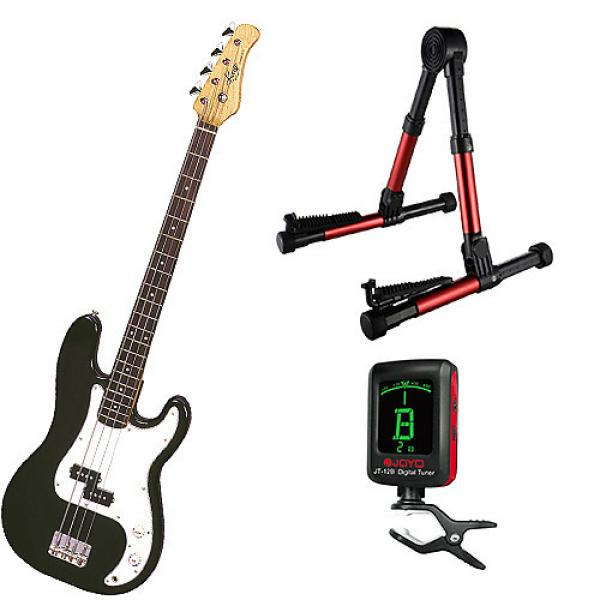 Custom Bass Pack-Black Kay Bass Guitar Medium Scale w/Meisel COM-80 Tuner & Red Stand #1 image