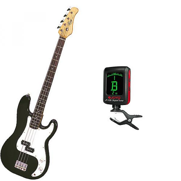 Custom Bass Pack-Black Kay Electric Bass Guitar Medium Scale w/Meisel COM-80 Tuner #1 image