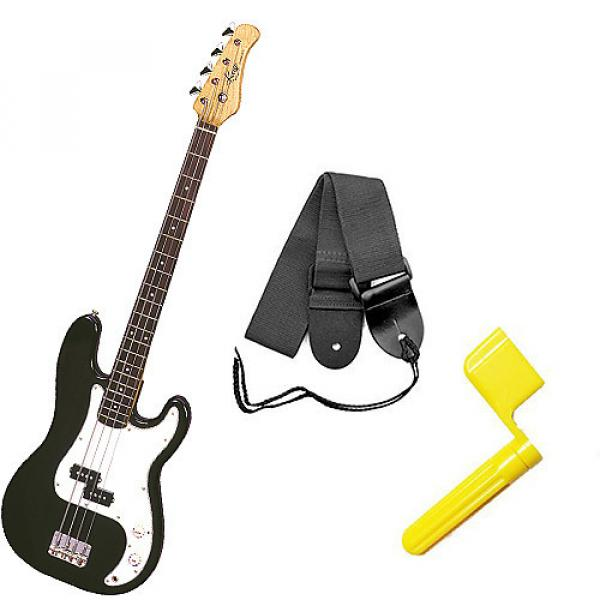 Custom Bass Pack - Black Kay Bass Guitar Medium Scale w/Yellow String Winder & Strap #1 image