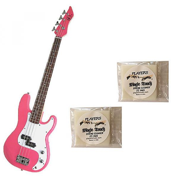 Custom Bass Pack-Pink Kay Electric Bass Guitar Medium Scale w/2 PK String Cleaning Pads #1 image