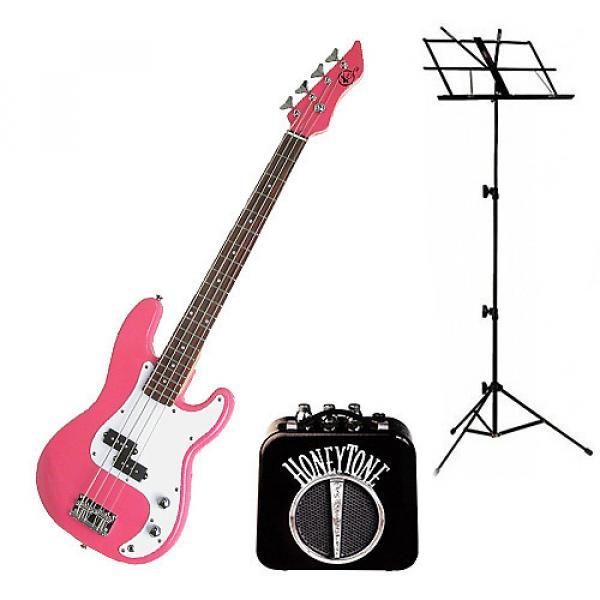 Custom Bass Pack - Pink Kay Electric Bass Guitar Medium Scale w/Mini Amp & Black Stand #1 image