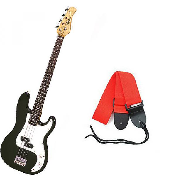 Custom Bass Pack - Black Kay Electric Bass Guitar Medium Scale w/Red Strap #1 image