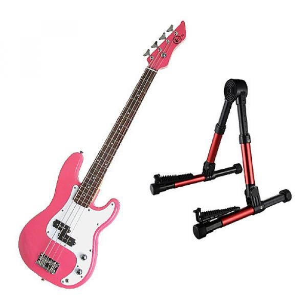 Custom Bass Pack - Pink Kay Electric Bass Guitar Medium Scale w/Red Guitar Stand #1 image