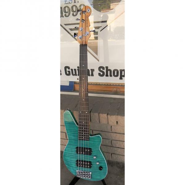 Custom Reverend  Mercalli 5 string Bass 2016 Turquoise flamed maple #1 image