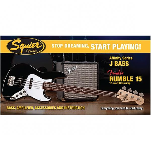 Custom Squier Affinity Series Jazz Bass with Rumble 15 Amp Pack #1 image