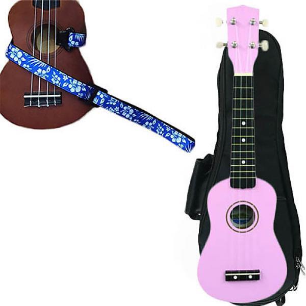 Custom Pink Soprano Ukulele Pack w/Masterstraps Hawaiian Flower Blue Strap #1 image