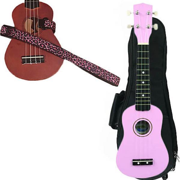 Custom Pink Soprano Ukulele Pack w/Masterstraps Pink Leopard Strap #1 image