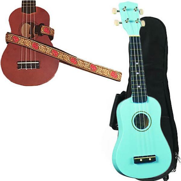Custom Baby Blue Soprano Ukulele Pack w/Masterstraps Desert Rose Red Strap #1 image