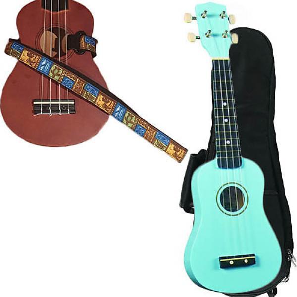 Custom Baby Blue Soprano Ukulele Pack w/Masterstraps Tiki Hawaiian Strap #1 image