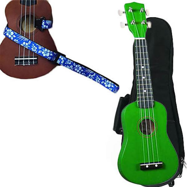 Custom Green Soprano Ukulele Pack w/Masterstraps Hawaiian Flower Blue Strap #1 image