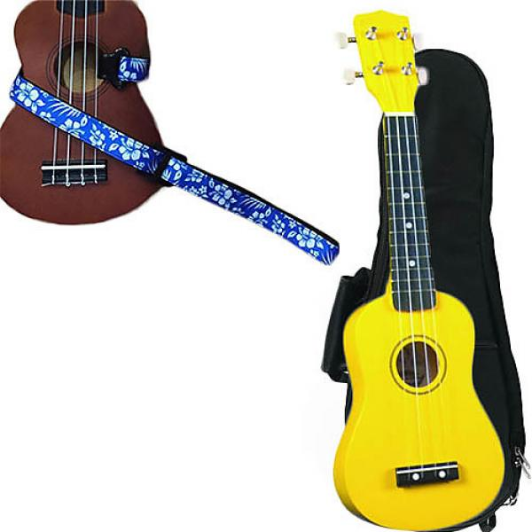 Custom Yellow Soprano Ukulele Pack w/Masterstraps Hawaiian Flower Blue Strap #1 image