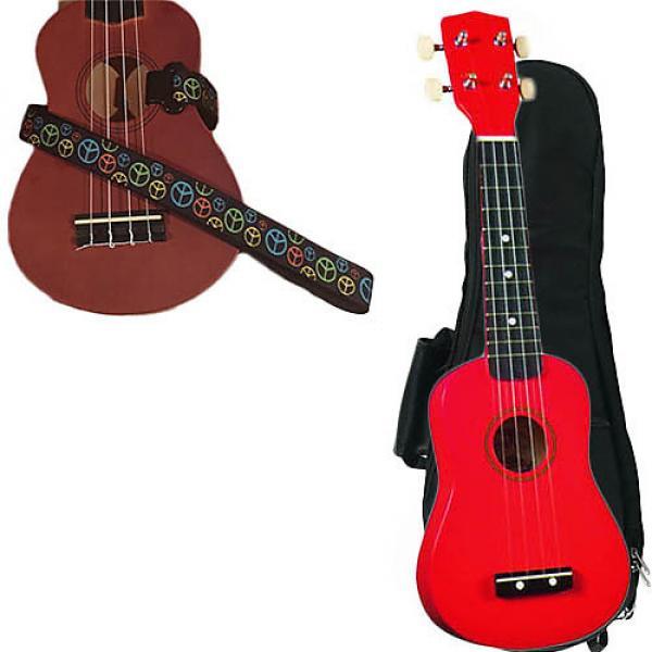 Custom Red Soprano Ukulele Pack w/Masterstraps Peace Sign Neon Strap #1 image