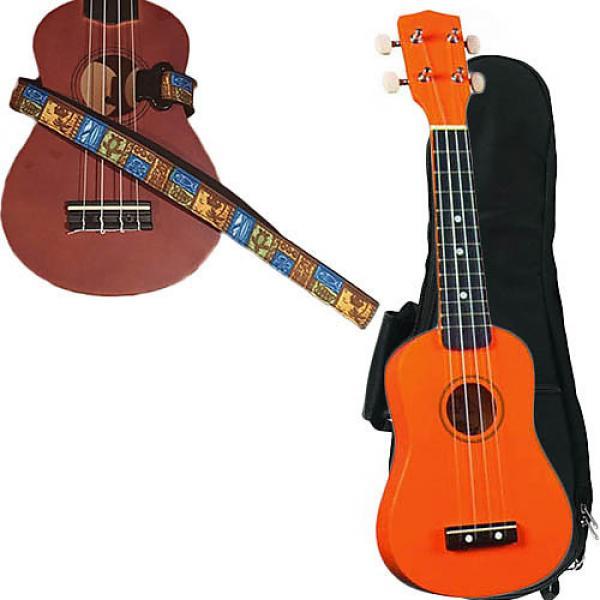 Custom Orange Soprano Ukulele Pack w/Masterstraps Tiki Hawaiian Strap #1 image