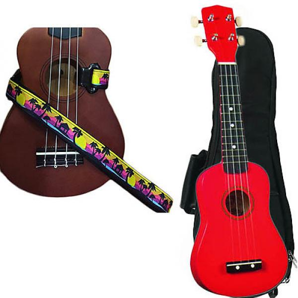 Custom Red Soprano Ukulele Pack w/Masterstraps Palm Trees Strap #1 image