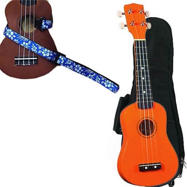 Custom Orange Soprano Ukulele Pack w/Masterstraps Hawaiian Flower Blue Strap #1 image
