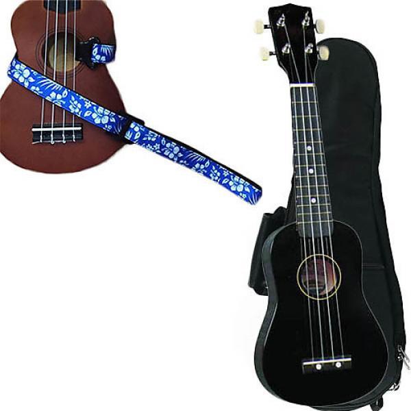 Custom Black Soprano Ukulele Pack w/Masterstraps Hawaiian Flower Blue Strap #1 image