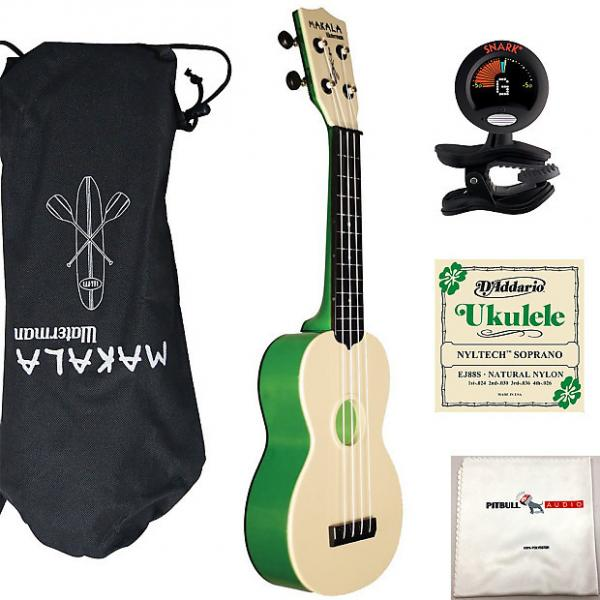 Custom Kala Makala Waterman Soprano Ukulele Green Bundle + Bag + Tuner + Strings +Cloth #1 image