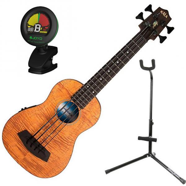Custom Kala UBASS EM FSRW Exotic Mahogany A/E Ukulele Bass Bundle #1 image