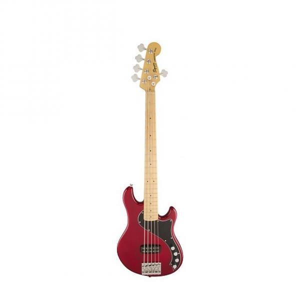 Custom Squier (Fender) Deluxe Dimension Bass V [DISPLAY MODEL] Crimson Red Transparent 5-String Electric Ba #1 image