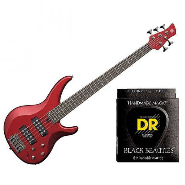 Custom Yamaha TRBX305 5 String Electric Bass Candy Apple Red w/Set DR Strings BKB5-45 #1 image