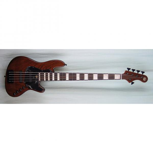 Custom Elrick Expat Handmade New Jazz Standard 5-String Bass Guitar, Walnut Brown Finish, Rosewood Fb. #1 image