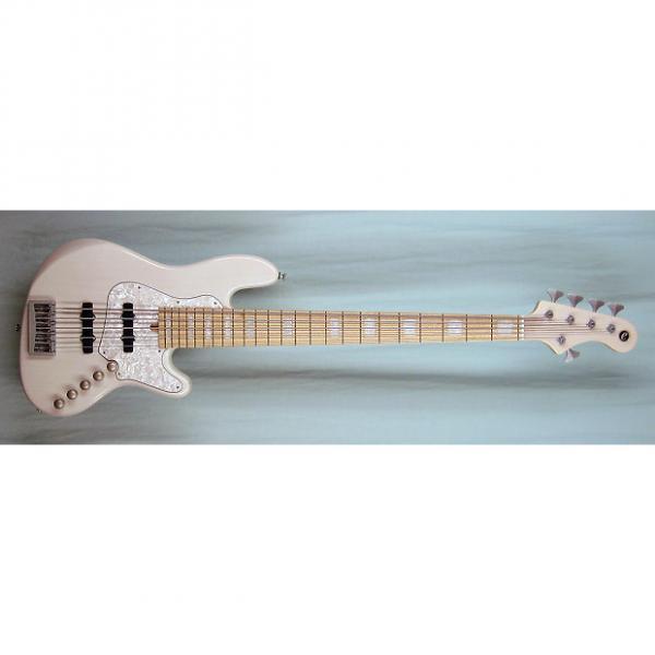 Custom Elrick Expat Handmade New Jazz Standard 5-String Bass Guitar, Mary Kay White Finish, Maple Fb. #1 image