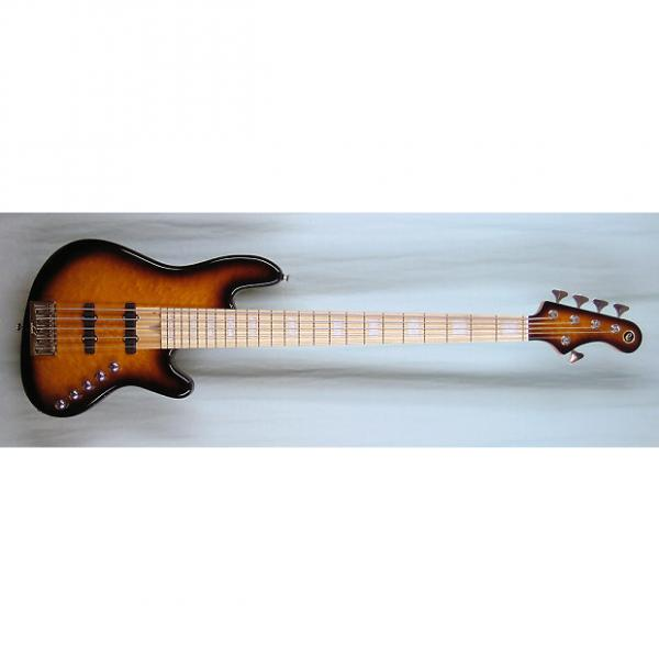 Custom Elrick Expat Handmade New Jazz Standard 5-String Bass Guitar, Tobacco Sunburst Finish/Quilt Mpl. Top #1 image