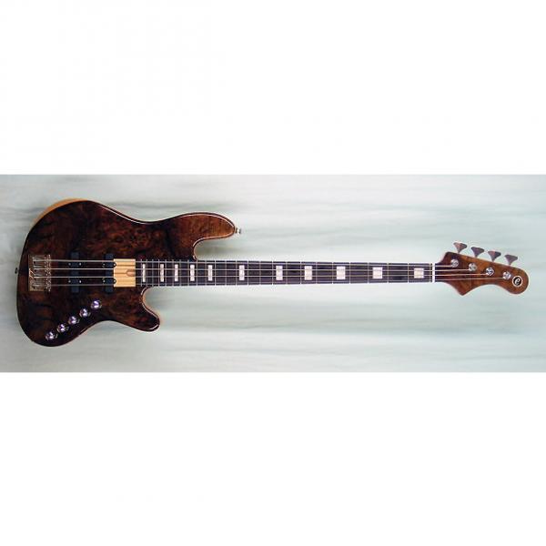 Custom Elrick Expat Handmade New Jazz Standard 4-String Bass Guitar, Clear Gloss Finish/Burl Walnut Top #1 image