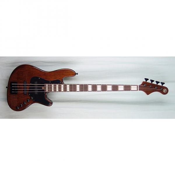 Custom Elrick Expat Handmade New Jazz Standard 4-String Bass Guitar, Walnut Brown Finish, MOP Blocks #1 image